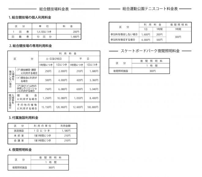 総合運動公園料金表